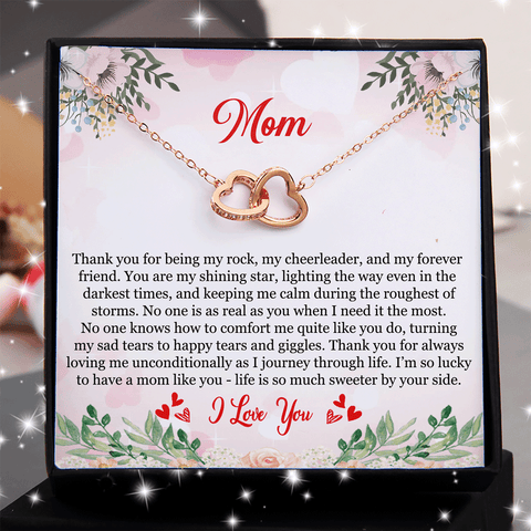 Mom Thank You For Being My Rock - Double Heart Necklace