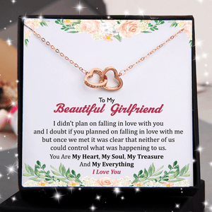 To My Beautiful Girlfriend You Are My Everything Double Heart Necklace