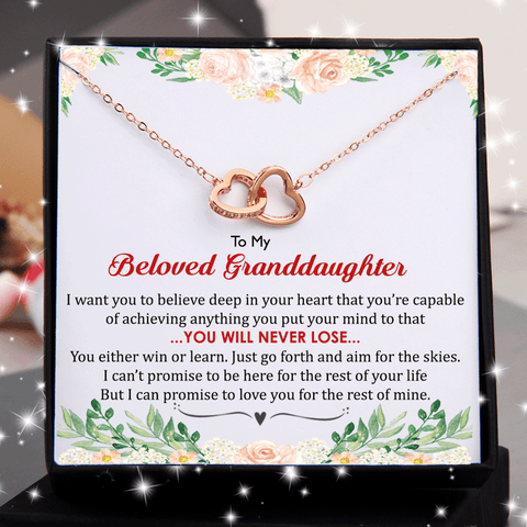 To My Granddaughter - You Will Never Lose Double Heart Necklace