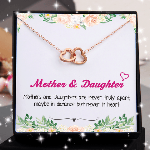Mothers and Daughters Never Truly Part Double Heart Interlocking Necklace