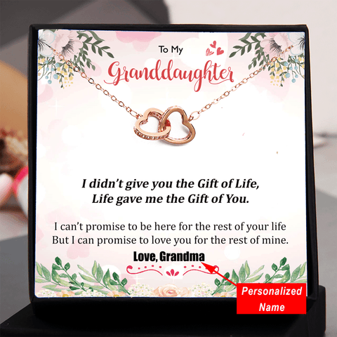 To My Granddaughter - I Didn't Give You Gift Of Life Double Heart Necklace (Personalized Name)