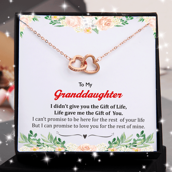 To My Granddaughter - I Didn't Give You Gift Of Life Double Heart Necklace