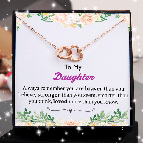 To My Daughter You Are Braver Double Heart Interlocking Necklace