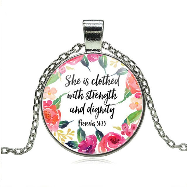 She is clothed with Strength and Dignity Pendant Necklace