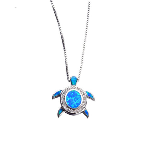 Ocean Blue Fire Opal Turtle Necklace