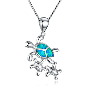 Blue Fire Opal Mom and Two Baby Turtles Necklace