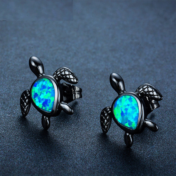 Turtle Blue Fire Opal Stud Earrings