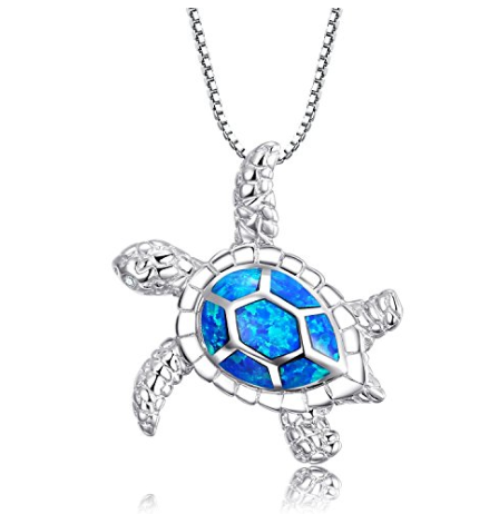 925 Sterling Silver Blue Opal Turtle Necklace