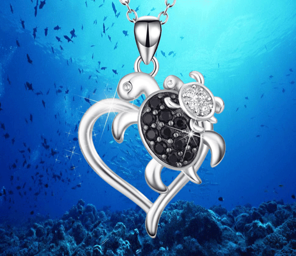 Gorgeous Mother & Child Sea Turtle Pendant Necklace