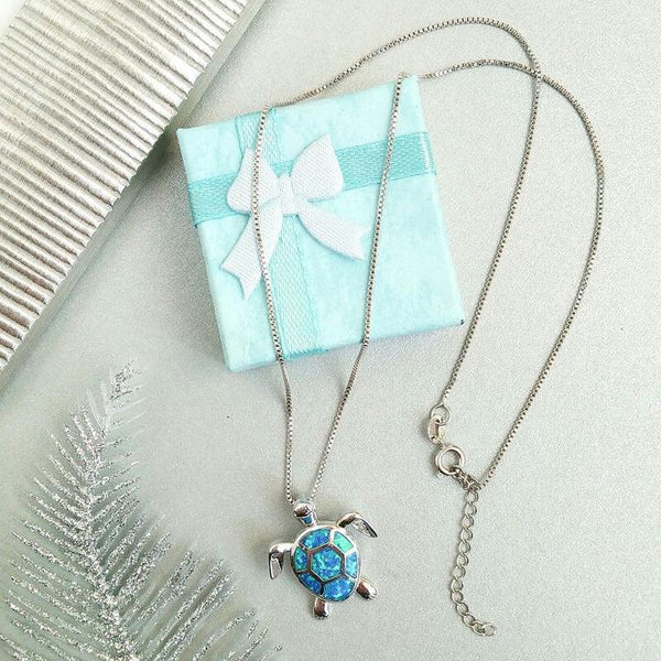 Blue Opal Turtles Necklace