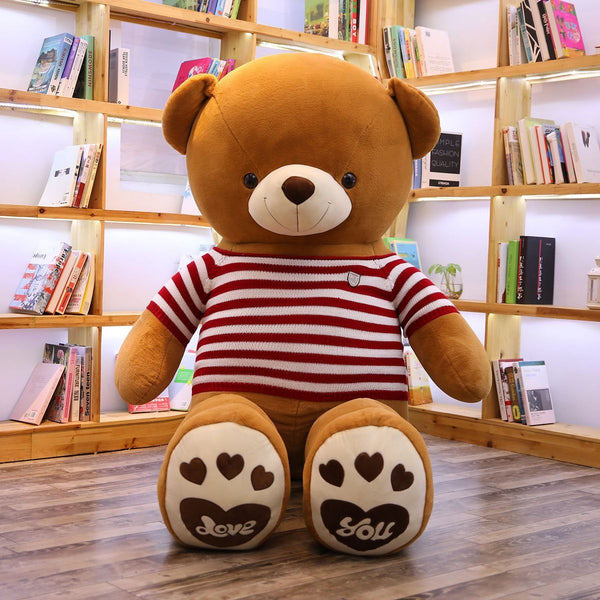 Giant Stuffed Teddy Bear with Red Striped T-shirt