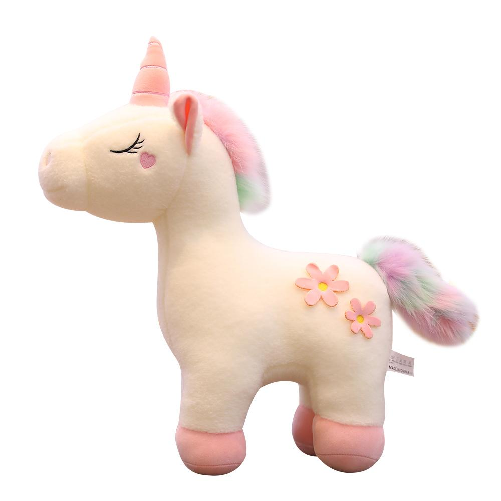 Fluffy Stuffed Unicorn with Rainbow Tail