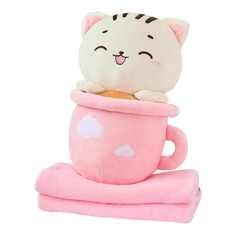 "50cm/19"" Stuffed Cup Cat with Blanket Set"
