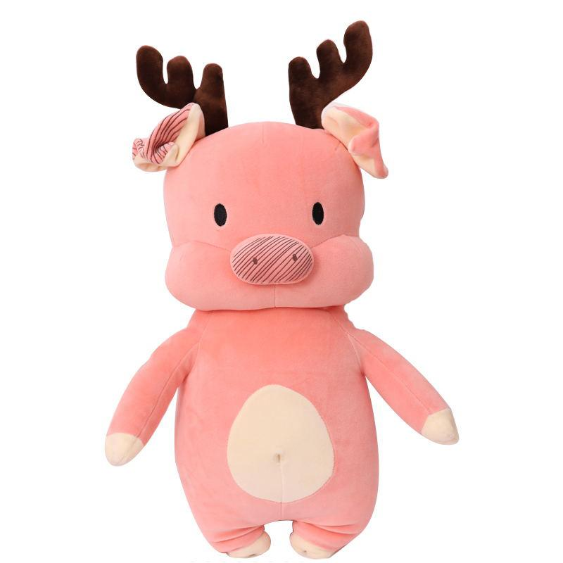 "80cm/31"" Giant Plush Pig Toy with Elk horn"