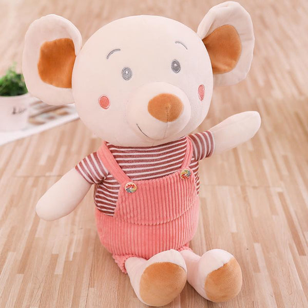 Cute Stuffed Baby Mouse with Overalls