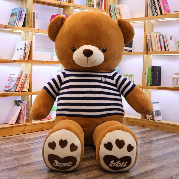 Giant Stuffed Teddy Bear with Black Striped T-shirt