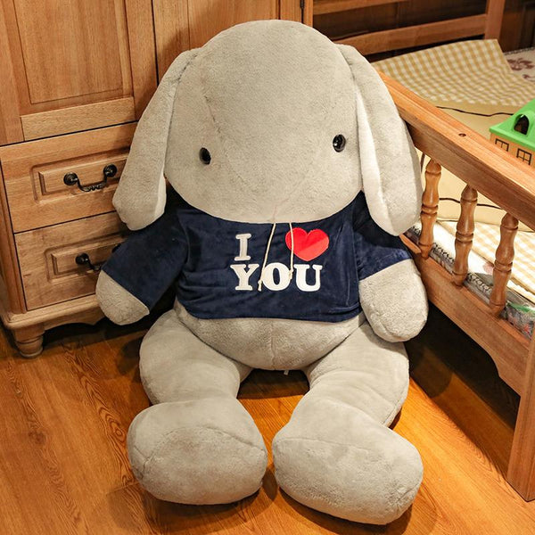 Giant Long Ear Stuffed Rabbit with I Love You T-shirt