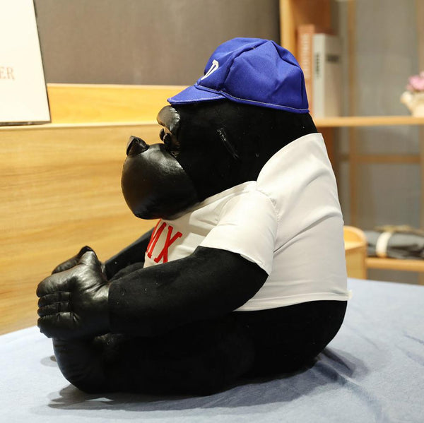 Giant Realistic Gorilla Stuffed Animal with Hat and T-shirt