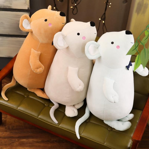 Soft Stuffed Mouse with Bowtie Animal Pillow