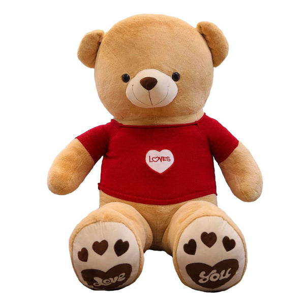 Giant Stuffed Teddy Bear with Red Heart T-shirt