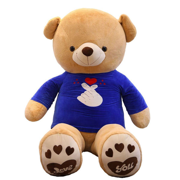 Giant Stuffed Teddy Bear with Blue Love T-shirt
