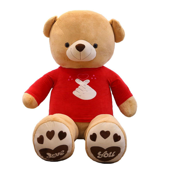 Giant Stuffed Teddy Bear with Red Love T-shirt