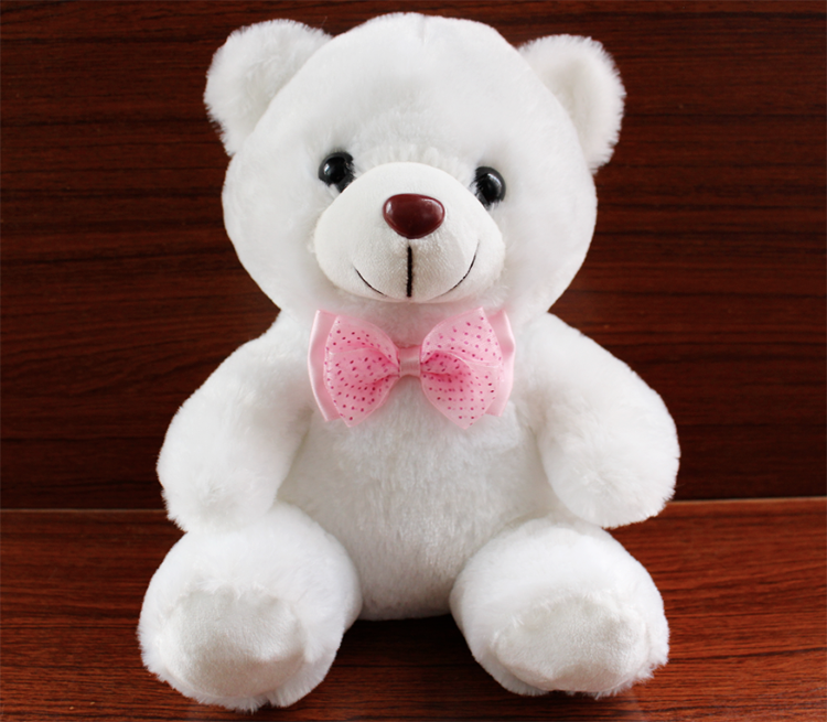 "BMOIZ 12"" White Plush Sweet Teddy Bear Stuffed Animal"