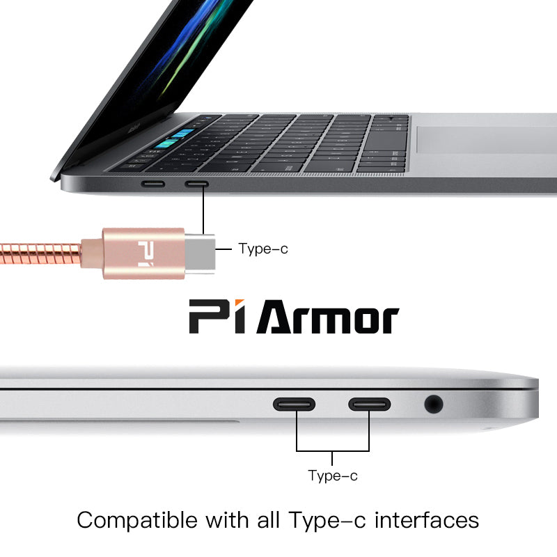 Pi Armor Type-C to 8-Pin Rose Gold metal cable