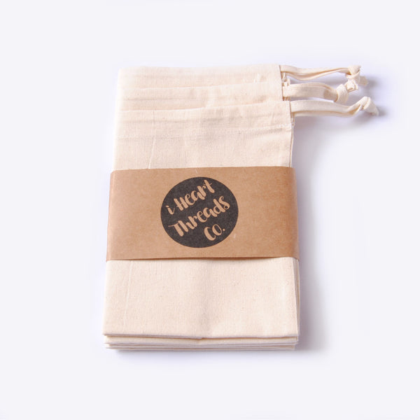 NATURAL COTTON PRODUCE BAGS - SET OF 3