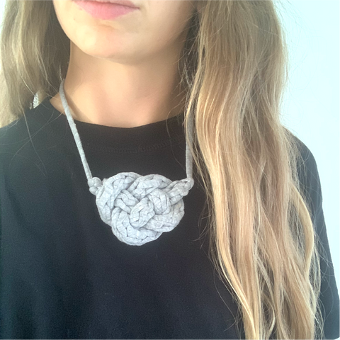 RECYCLED T-SHIRT CELTIC KNOT NECKLACE