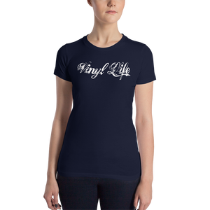 "VinylWear ""Vinyl Life"" Women's Slim Fit Dark T-Shirt w/ FPBST on back"