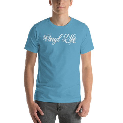 "VinylLife ""Vinyl Life"" Short-Sleeve Unisex Dark Premium T-Shirt w/ FPBST on back"