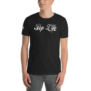 "VinylWear ""Pop Life"" White Short-Sleeve Unisex Dark T-Shirt w/ FPBST on sleeve"