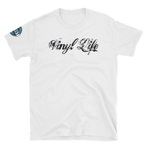 "VinylWear ""Vinyl Life"" Black Short-Sleeve Unisex T-Shirt w/ FPBST on sleeve"
