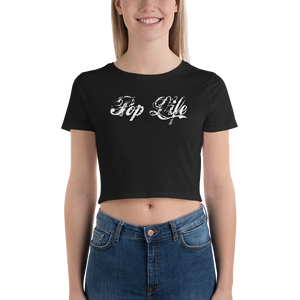 "VinylWear ""Pop Life"" White Women's Crop Tee w/ FPBST on back"