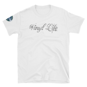 "VinylWear ""Vinyl Life"" Grey Short-Sleeve Unisex T-Shirt w/ FPBST on sleeve"