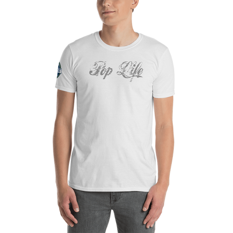 "VinylWear ""Pop Life"" Grey Short-Sleeve Unisex T-Shirt w/ FPBST on sleeve"