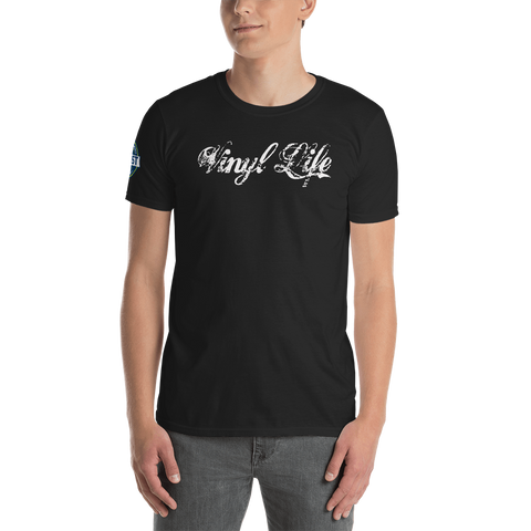 "VinylWear ""Vinyl Life"" White Short-Sleeve Unisex Dark T-Shirt w/ FPBST on sleeve"