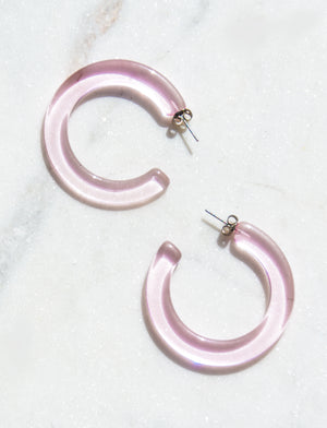 1 Inch Lucite Hoop Earrings in Pink