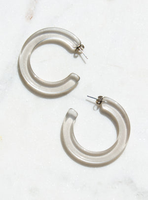 1 Inch Lucite Hoop Earrings in Smoke