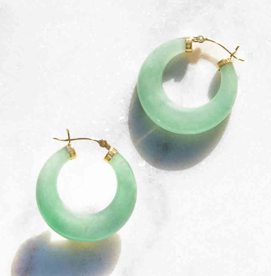 14k Gold Jade Hoop Earrings