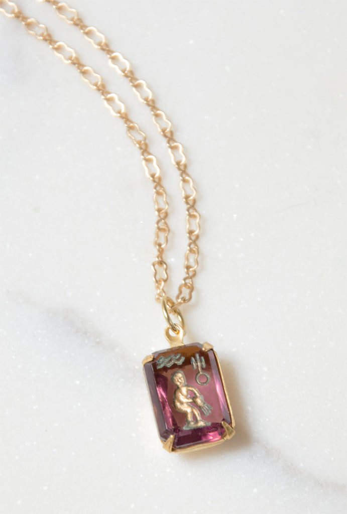 Antique Aquarius Intaglio Glass Pendant Necklace