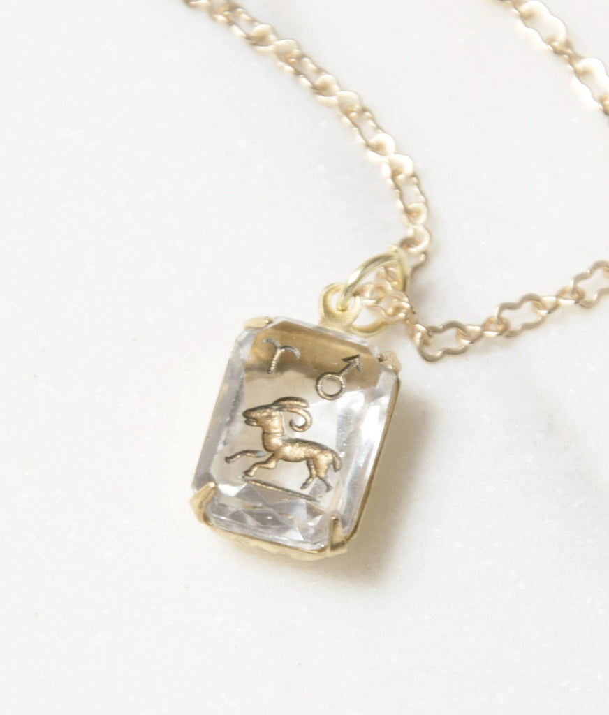 Antique Aries Pendant Necklace in Clear Quartz Intaglio Glass - Recollect Jewelry