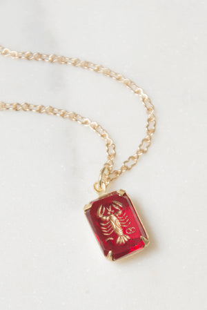 Antique Cancer Pendant Necklace in Ruby Intaglio Glass