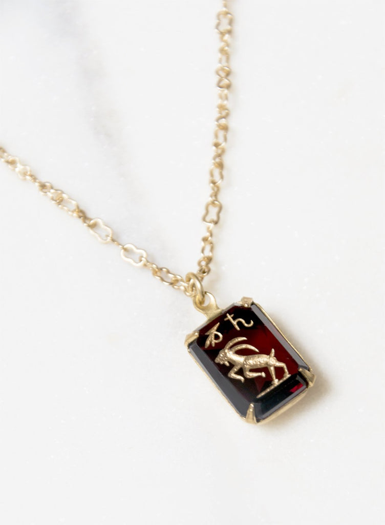 Antique Capricorn Intaglio Glass Pendant Necklace