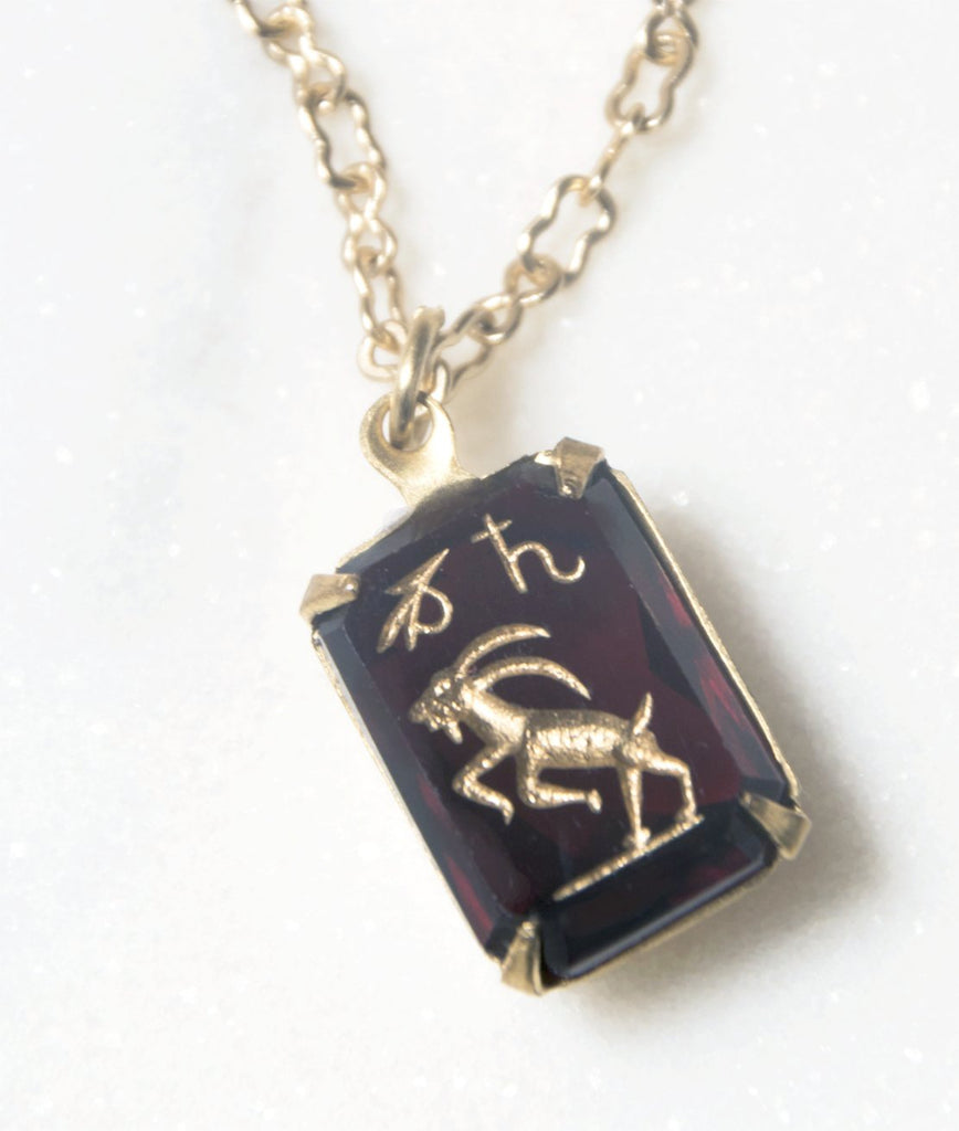 1940s Capricorn Intaglio Glass Pendant Necklace