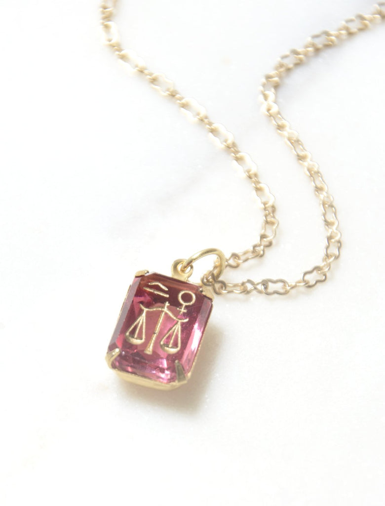1940s Libra Intaglio Glass Pendant Necklace