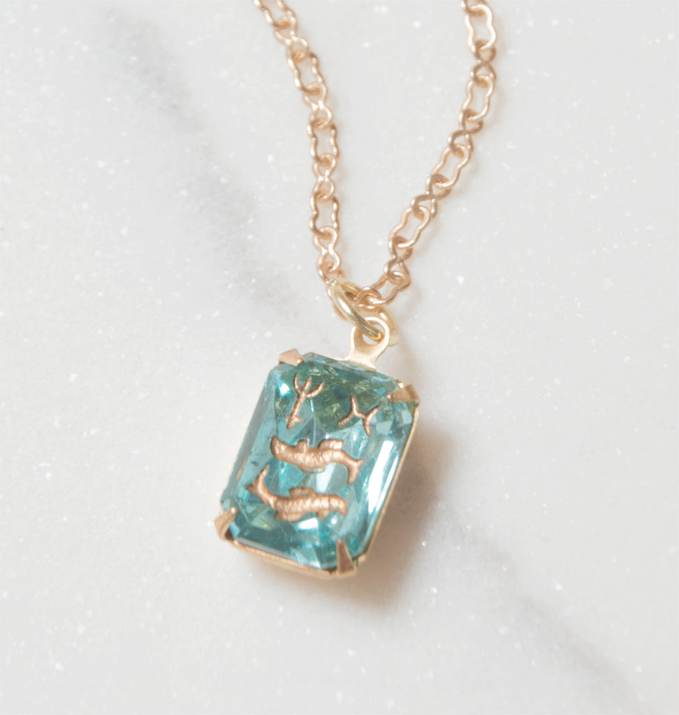 Antique Pisces Pendant Necklace in Aquamarine Intaglio Glass