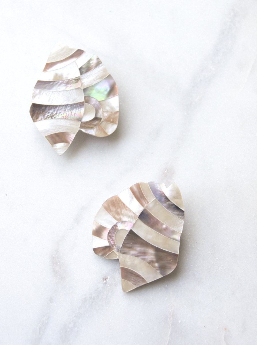 1970s Mother of Pearl and Abalone Inlay Earrings