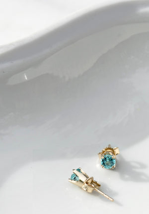 Vintage Blue Apatite Gold Stud Earrings - Afsaneh Taki